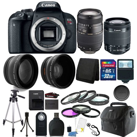 Canon EOS Rebel T7i 24.2MP DSLR Camera with 18-55mm + 70-300mm + 32GB Accessory Kit (Canon Eos Rebel T5i 18 135)