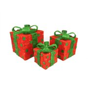 Set of 3 Red Sisal Gift Boxes with Green Bows and Polka Dots Lighted Christmas Yard Art Decorations