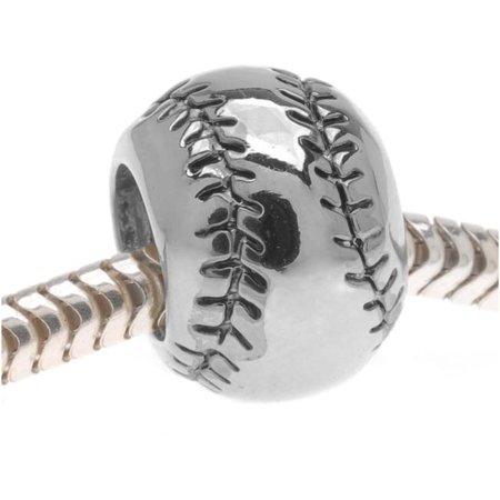 Silver Tone Baseball Or Softball - European Style Large Hole Bead - - Softball Beads