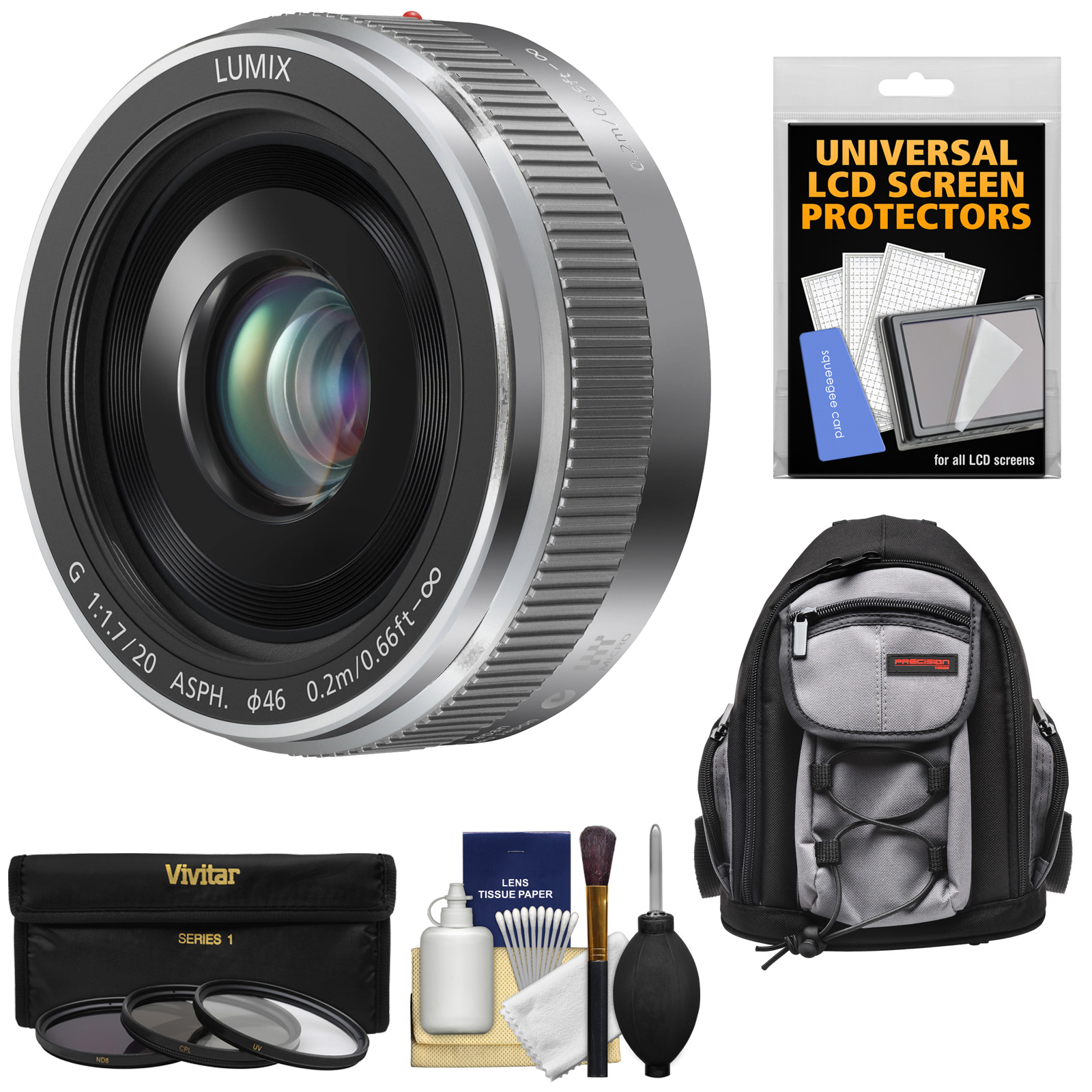 Panasonic Lumix G Vario 20mm f/1.7 II ASPH Lens (Silver) with 3 Filters + Backpack + Kit for G6, G7, GF7, GH3, GH4, GM1, GM5, GX7, GX8 Cameras