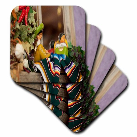 3dRose Hispanic Boy and Girl Ceramic Hanging on a Mirror with Hot Chilis and Leaves at Mexican Restaurant, Soft Coasters, set of - Chilis Restaurant