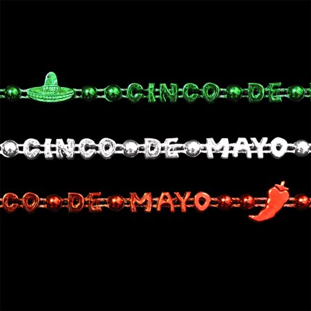 FlashingBlinkyLights Set of 12 Cinco de Mayo Party Bead Necklaces