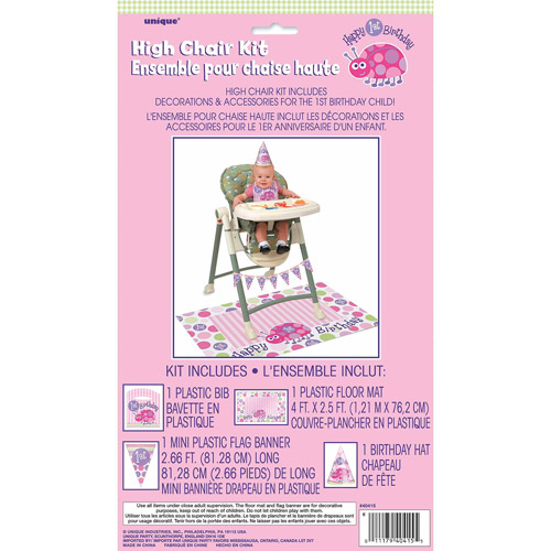 Ladybug 1st Birthday High Chair Decorating Kit, 4 Pieces