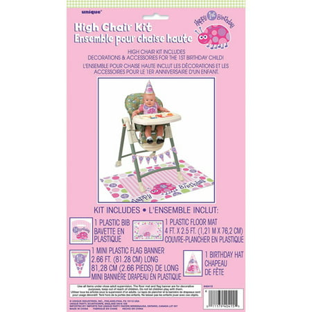 Pink Ladybug 1st Birthday High Chair Decorating Kit, 4pc - Ladybug 1st Birthday