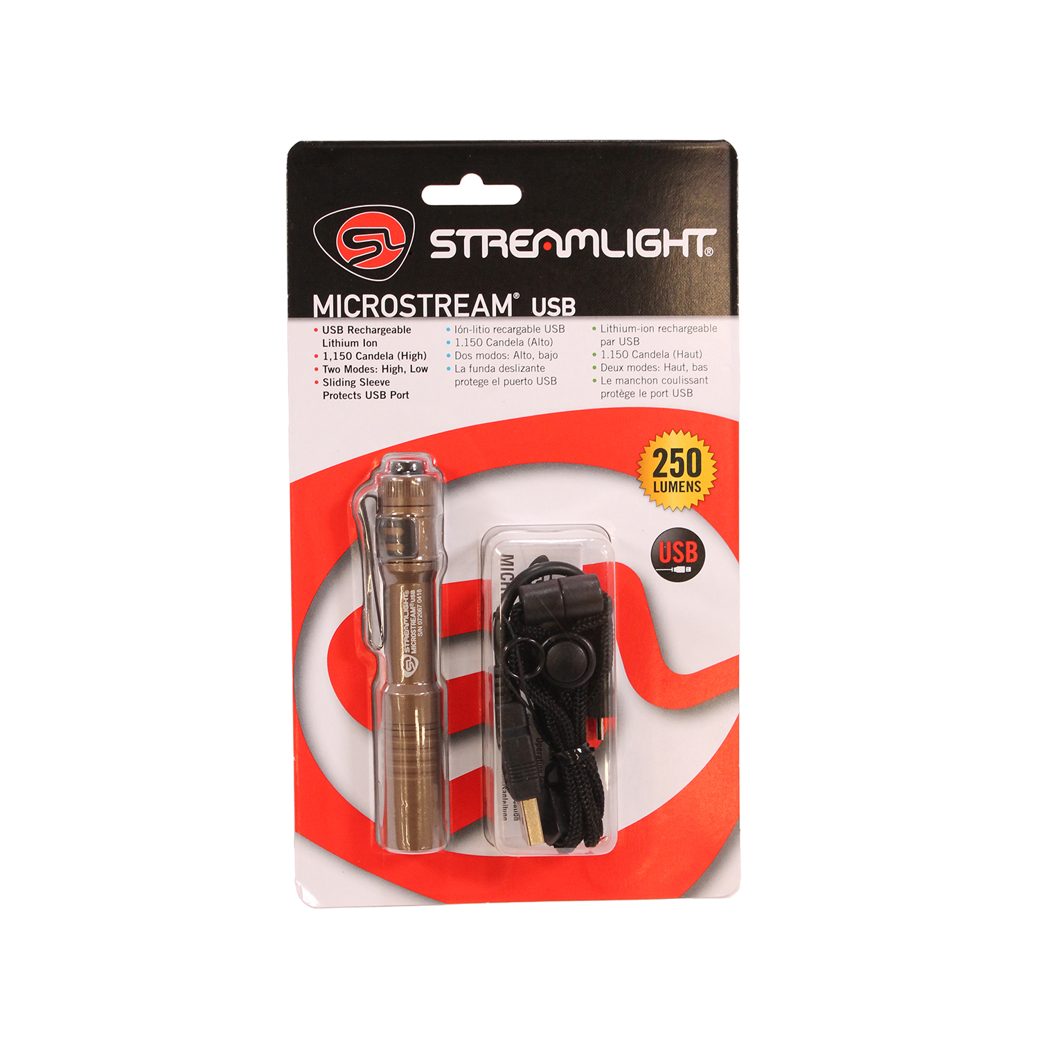 Streamlight Microstream Rechargeable USB LED 250 Lumen Flashlight, Tan - 66608