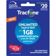 Tracfone $20 Smartphone Unlimited Talk & Text 30-Day Prepaid Plan (1GB at high speeds) e-PIN Top Up (Email Delivery)