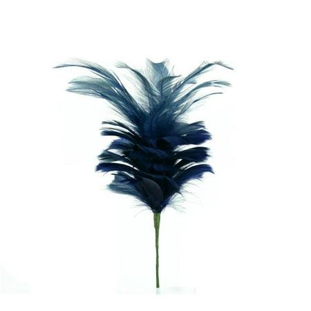 Passion Arrangement - Midwest Design Imports 49122 19 in. Navel Blue Goose Satinette & Hackle Feather Flower Stem - 4 Piece