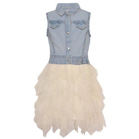 Rare Editions Little Girls Light Blue Denim Cascade Ruffled Vintage Dress