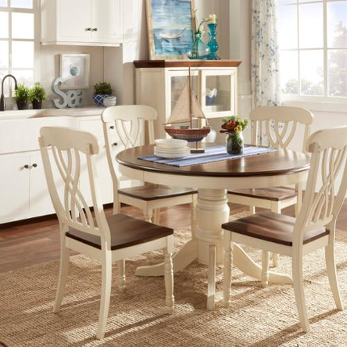 Beautiful Tribecca Home Mackenzie Country Style Two Tone Round Scroll Back Dining Set