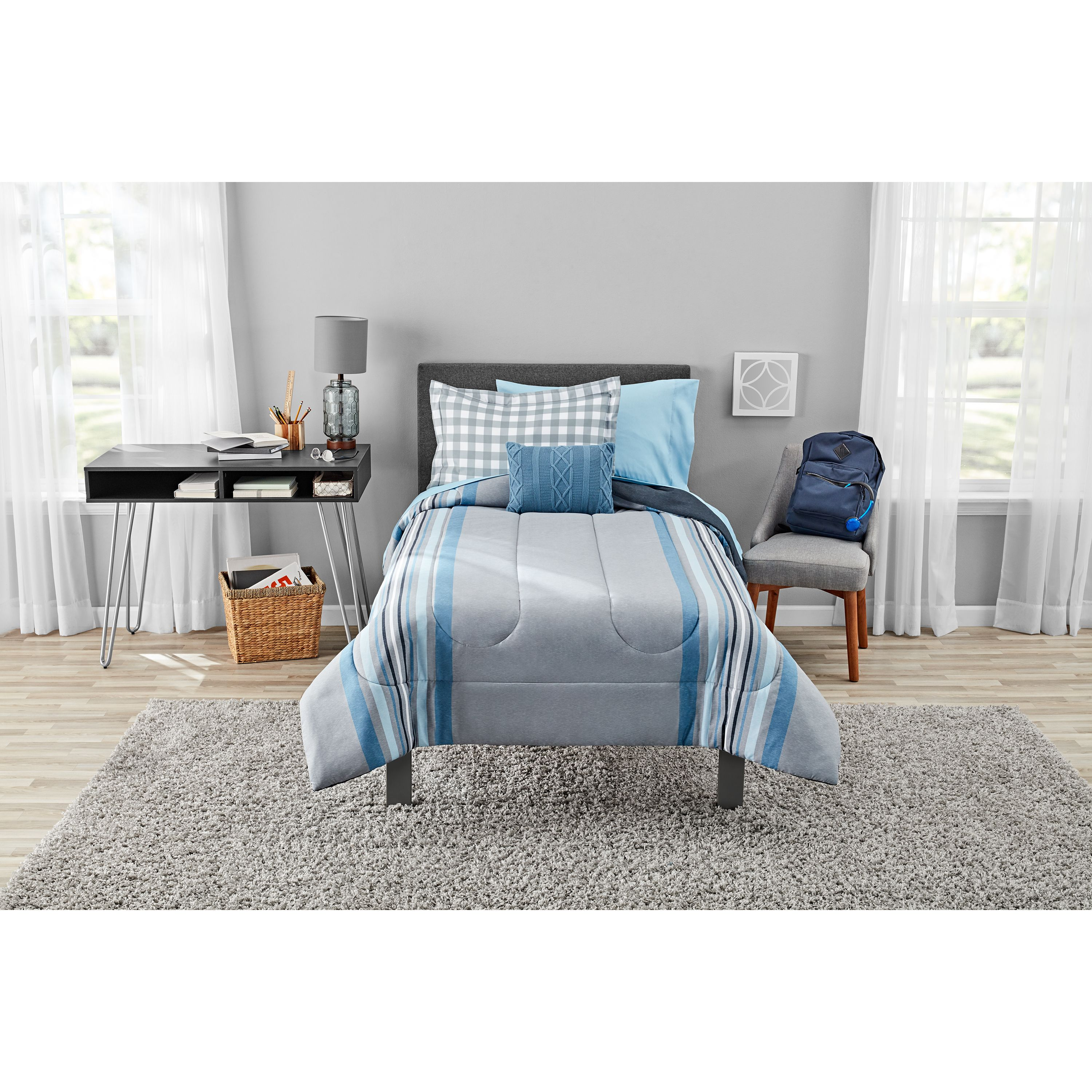 Mainstays Farmhouse Gray Stripe Bed in a Bag Bedding Set by Beco Industries