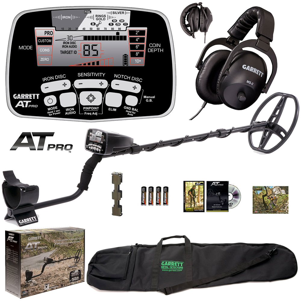 """Garrett AT Pro Metal Detector with MS-2 Headphones and 50"""" Carry Travel Bag by Garrett"""