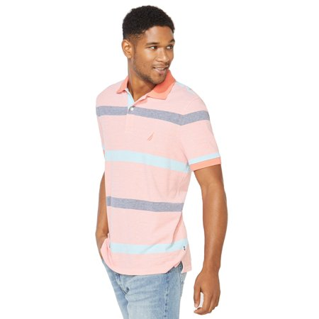 Nautica Men's Classic Fit Striped Polo Shirt, Living Coral