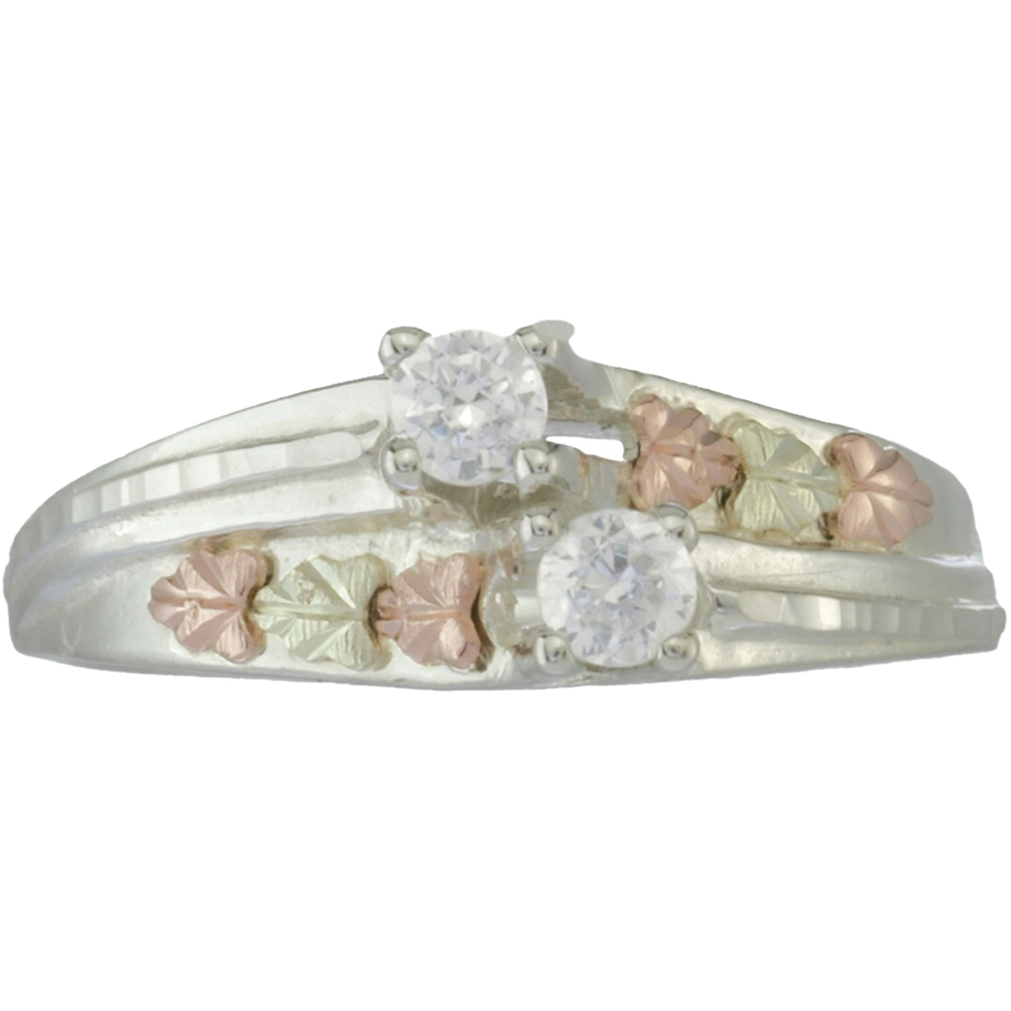 Black Hills Gold Double CZ Sterling Silver 12kt Rose and Green Gold Accented Ring