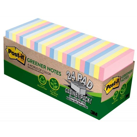 Greener Sticky Notes Cabinet Pack, 3in. x 3in., Helsinki Collection, 24 Pads