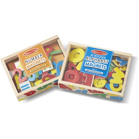 (Melissa & Doug Deluxe Magnetic Letters and Numbers Set with 89 Wooden Magnets)