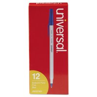 Universal Stick Ballpoint Pen, Fine 0.7mm, Blue Ink, Gray Barrel, Dozen -UNV27421
