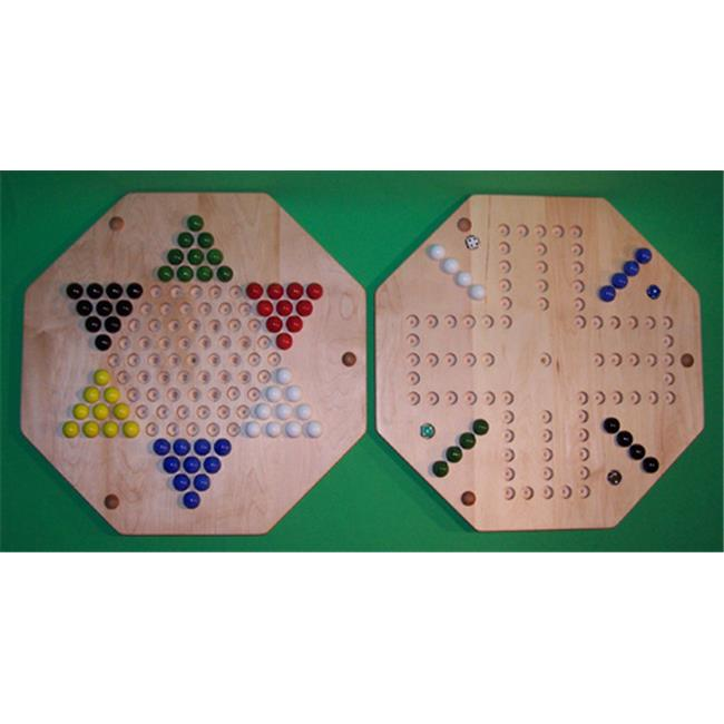 THE PUZZLE-MAN TOYS W-1970 Wooden Marble Game Board - (2 Games In 1) - 20 in. Octagon - Aggravation 4-Player 6-Hole & Chinese Checkers - Hard Maple