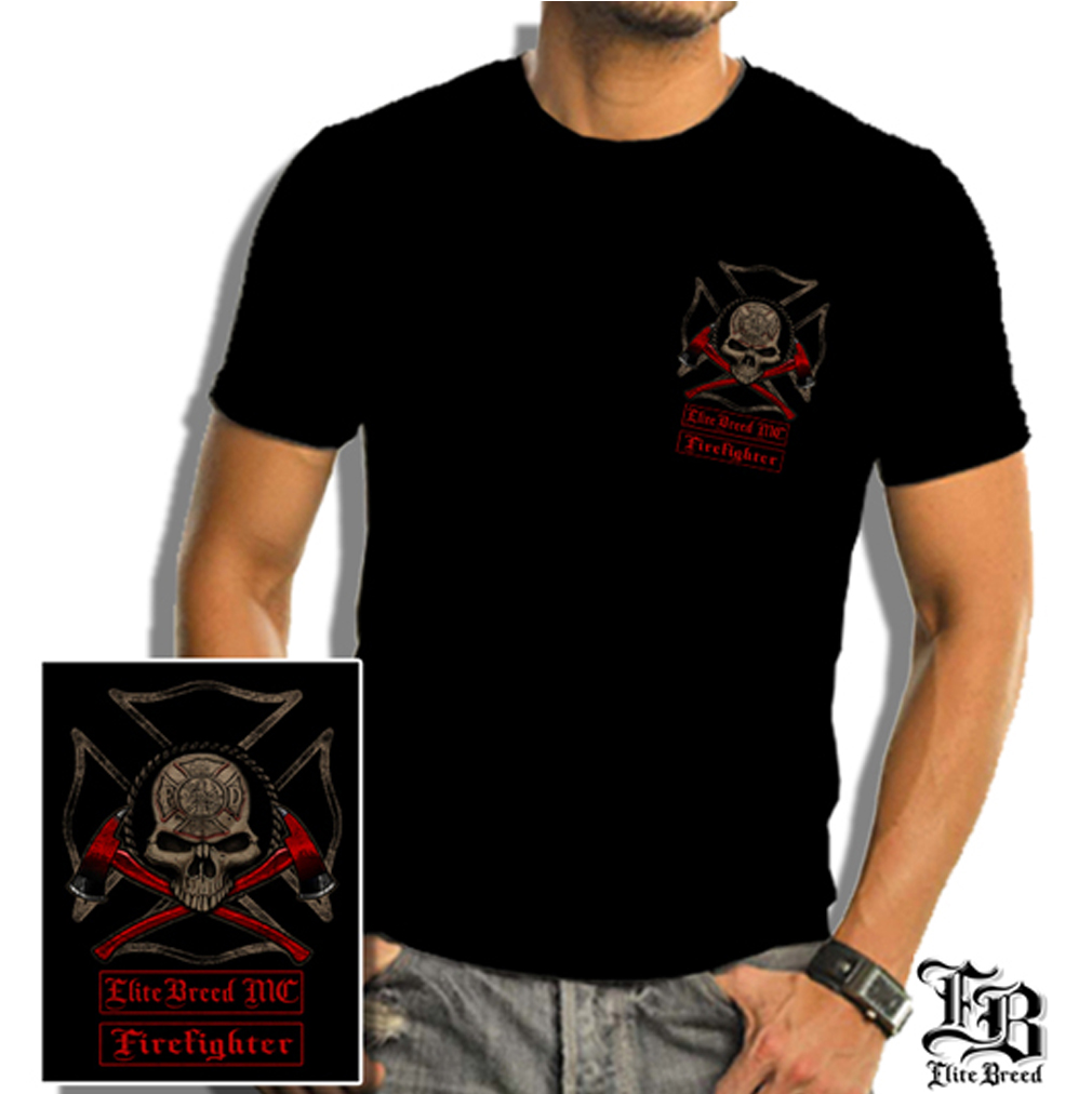 Elite Breed Firefighter Biker T-shirt by , Black
