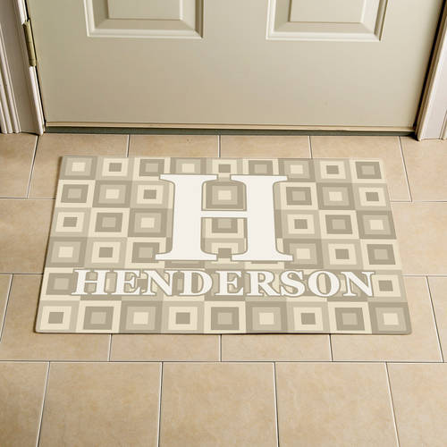 "Personalized Square Initial and Name Doormat, Cream, 17"" x 27"""