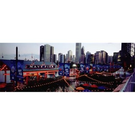 Amusement Park Lit Up At Dusk  Navy Pier  Chicago  Illinois  USA Poster Print by  - 36 x 12 - image 1 of 1