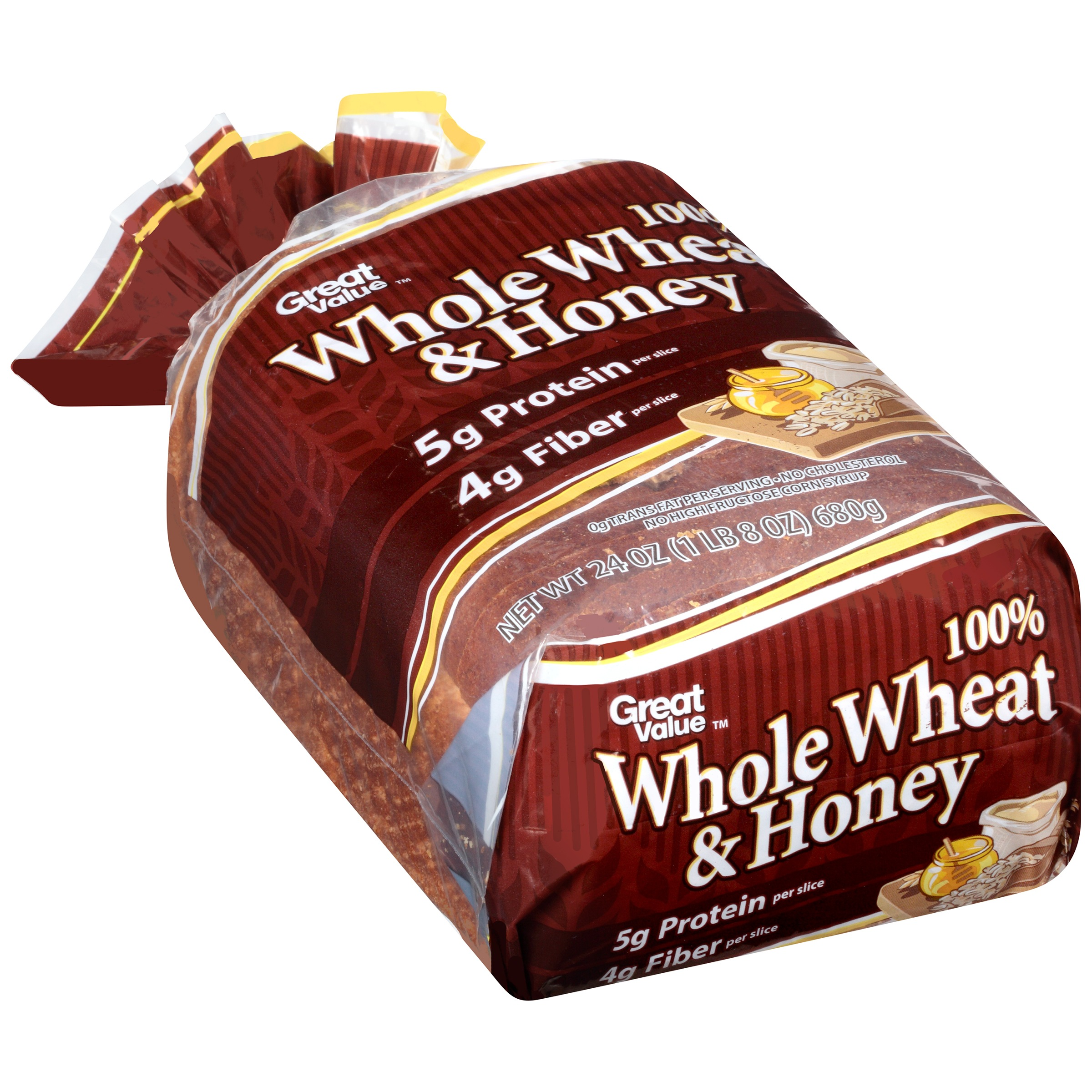 Great Value 100% Whole Wheat & Honey Bread, 24 oz