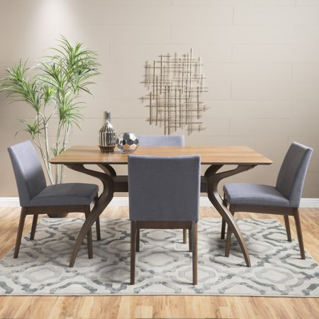 Noble House Caruso Natural Walnut Wood Dark Grey 5 Piece Dining Set Creek House 2 Piece
