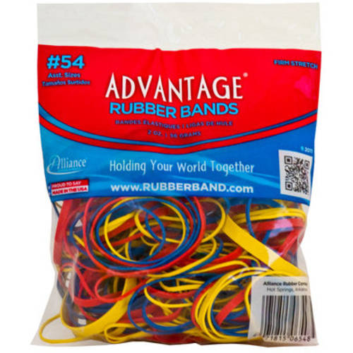 Alliance, Advantage Rubber Bands, 2oz. Bag, Assorted Sizes & Colors
