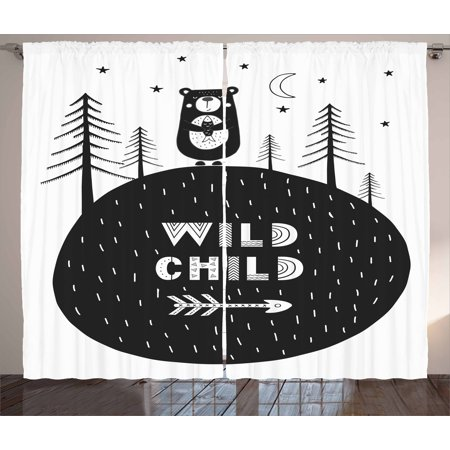 Black and White Curtains 2 Panels Set, Hand Drawn Bear Holding a Fish with  a Smile in Forest Wild Child Quote, Window Drapes for Living Room Bedroom,  ...