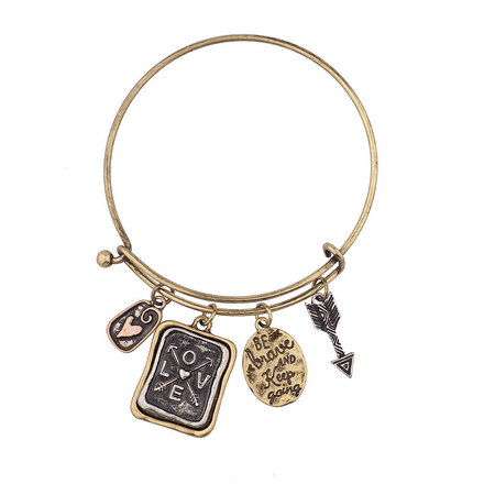 Lux Accessories Be Brave and Keep Going Inspirational Charm Bangle Bracelet](Inspirational Charms)