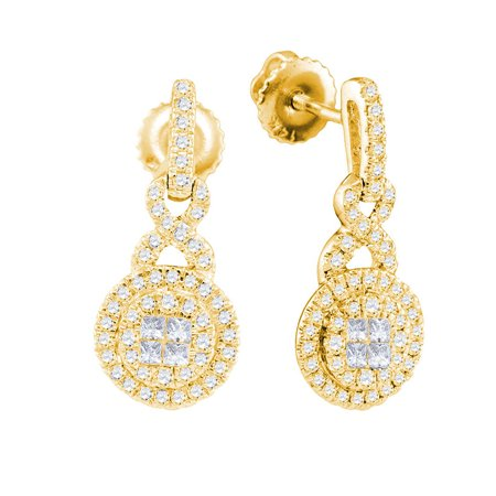 14kt Yellow Gold Womens Princess Round Diamond Soleil Cluster Dangle Earrings 1/2 Cttw - image 1 de 1