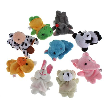 Soft Plush Animal Finger Puppet Set Velvet Cute Animal Finger Puppets Dolls Props Toys for Children Educational Toys, 10 Animals Set Big Mouth Animal Puppets