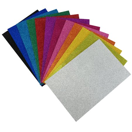 "Allgala 12 Pack Glitter EVA Foam Paper 8"" x 12"" Sheets - Assorted Colors - Perfect for Kids Art Projects and Classrooms or cosplay"