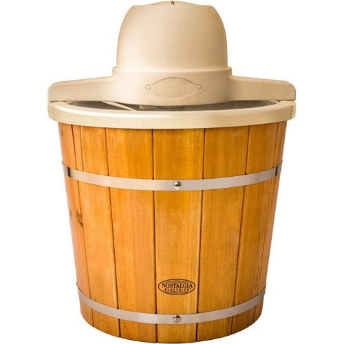 Nostalgia Electrics 4-Quart Plastic Bucket with Wood Slats Electric Ice Cream Maker, ICMP400WD