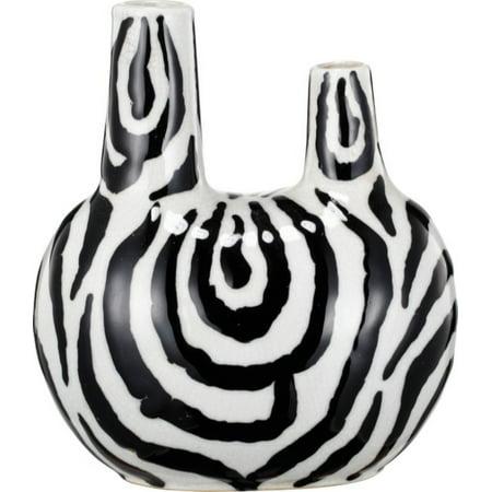 Exquisite Double Opening Ceramic Vase, White And Black - Black And White Vases