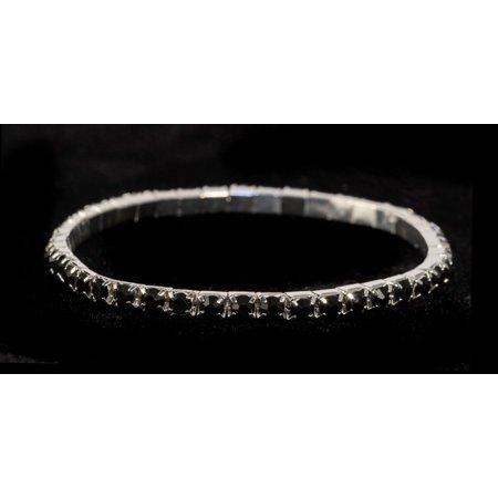 #11950 Single Row Stretch Rhinestone Bracelet - Jet Crystal  Silver