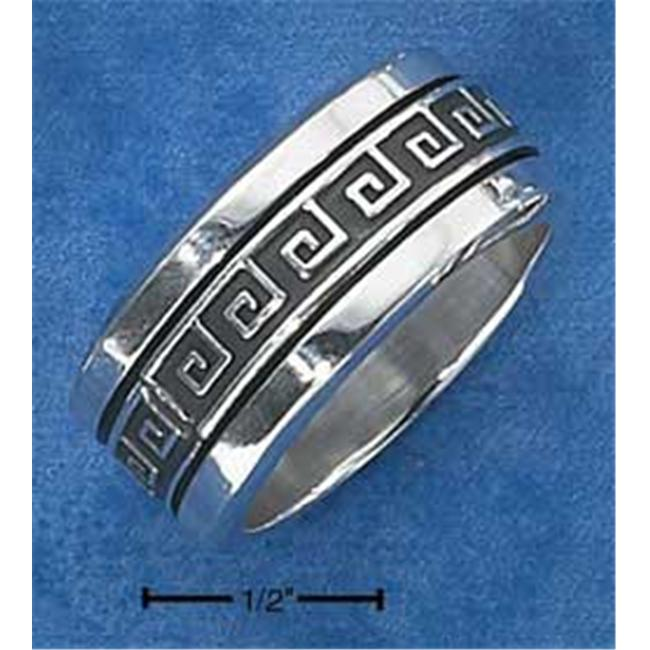 Plum Island Silver SR-1877-08 Sterling Silver Mens Antiqued Worry Ring with Greek Key Spinning Band - Size 8