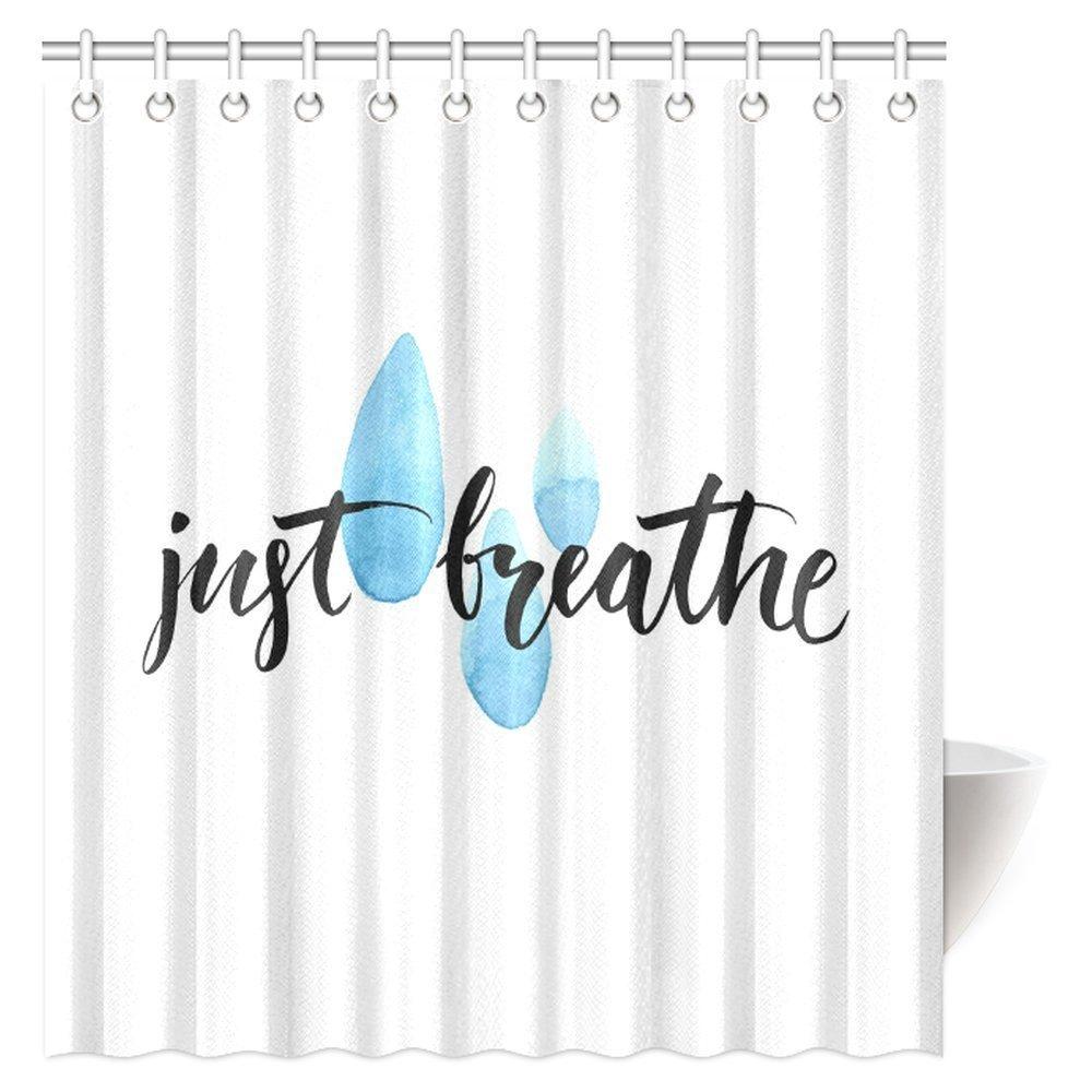 MYPOP Inspiring Quotes Shower Curtain, Just Breathe