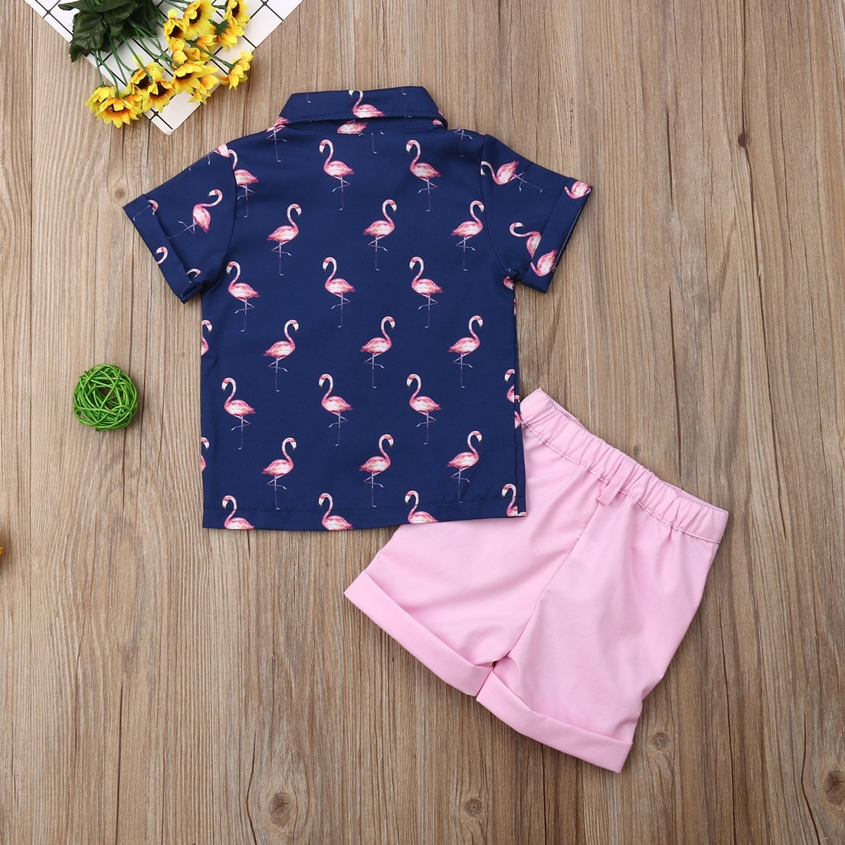 2Pcs Toddler Kids Baby Girls Sleeveless T-Shirt Flamingo Pattern Top Solid Color Shorts Outfits