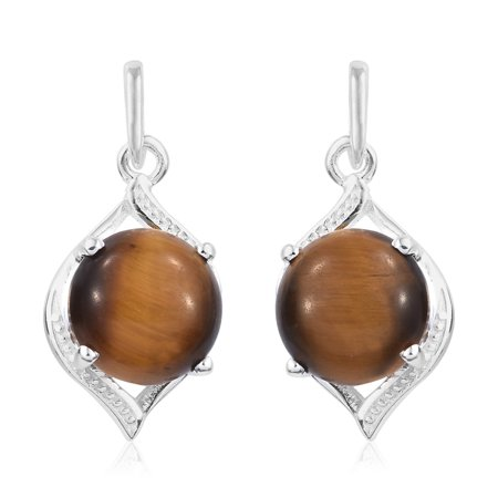 Doves Eye Earrings (South African Tigers Eye Sterling Silver Drop Earrings TGW 9.00)