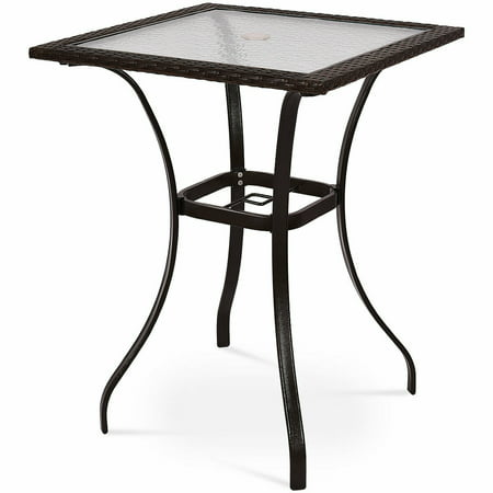 Costway Outdoor Patio Rattan Wicker Bar Square Table Glass Top Yard Garden Furniture NEW