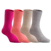 Lian Style 4 Pairs Pack Children Wool Socks Plain Color Size 4Y-6Y (Rose, Orange, Beige, Grey)