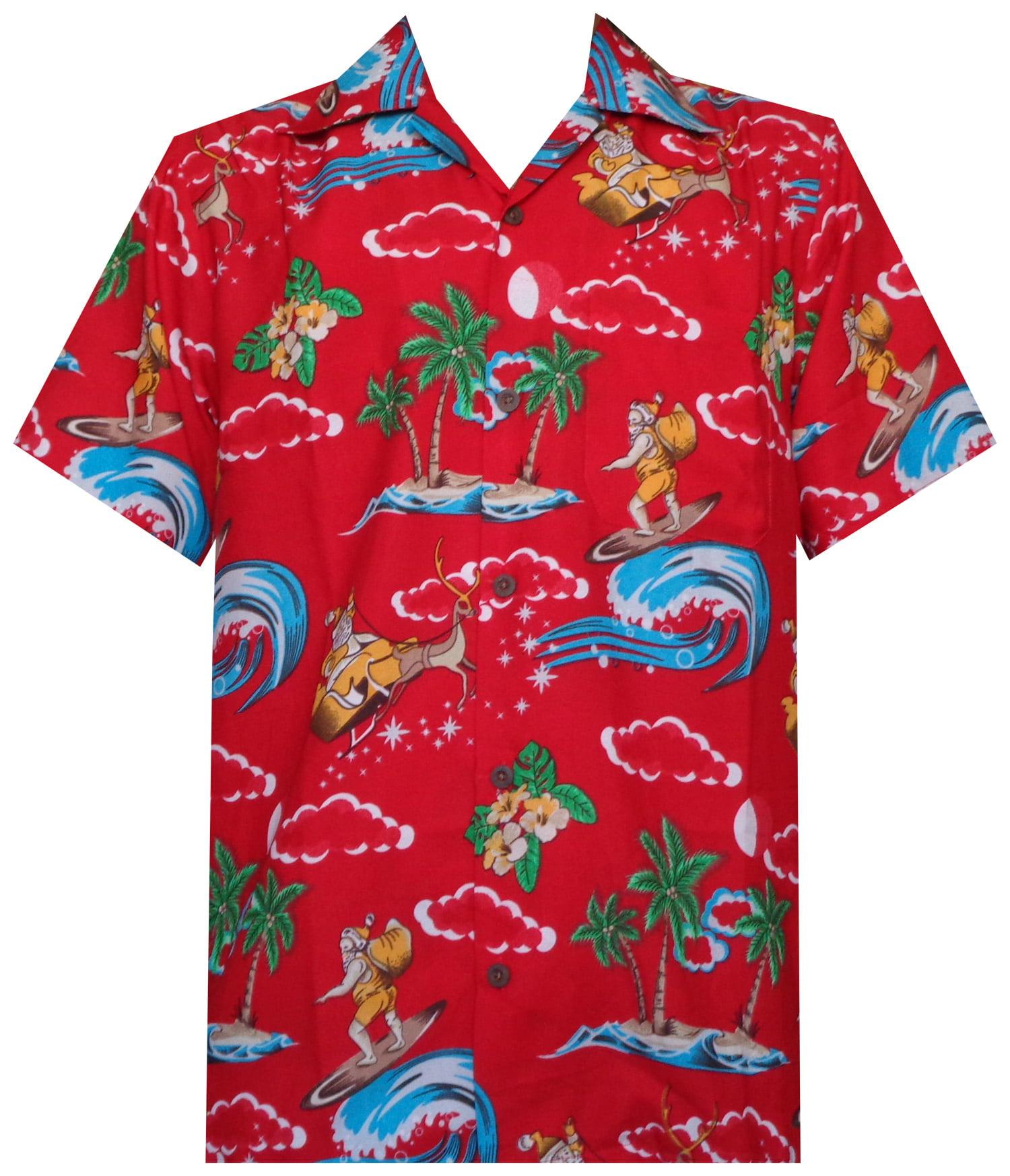 a54f18f43 Holiday - Hawaiian Shirt Mens Christmas Santa Claus Party Aloha Holiday  Beach - Walmart.com