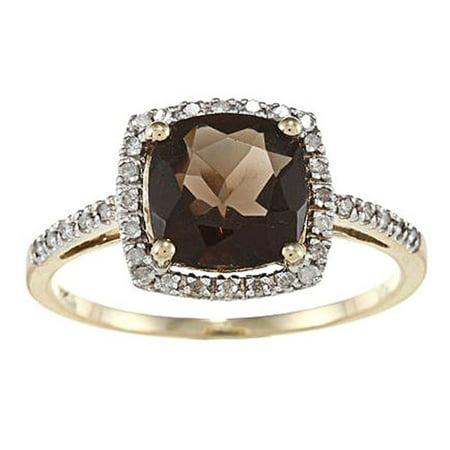 10k Yellow Gold Cushion Smoky Quartz and Diamond Halo Ring Marquise Smoky Quartz Ring