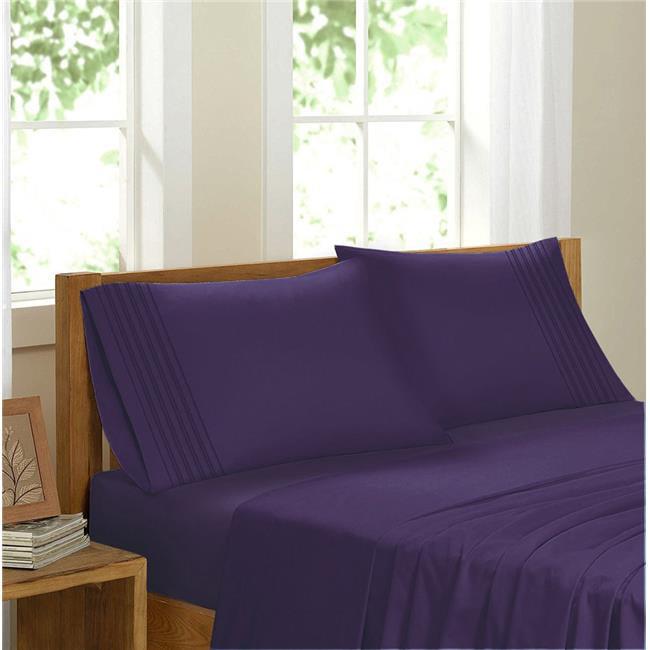GDC-GameDevCo 37248 Egyptian Comfort Sateen Sheet Set, Purple - Queen
