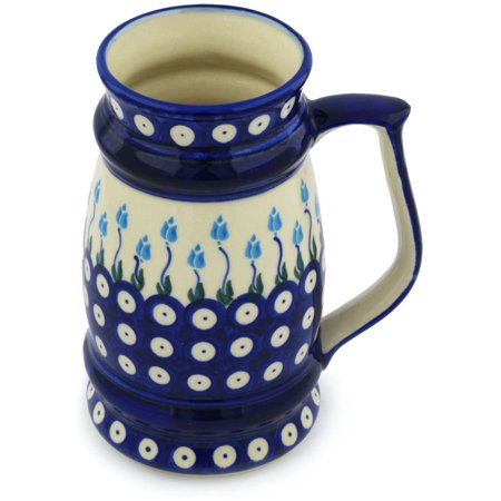 - Polish Pottery 29 oz Beer Mug (Floral Peacock Theme) Hand Painted in Boleslawiec, Poland + Certificate of Authenticity