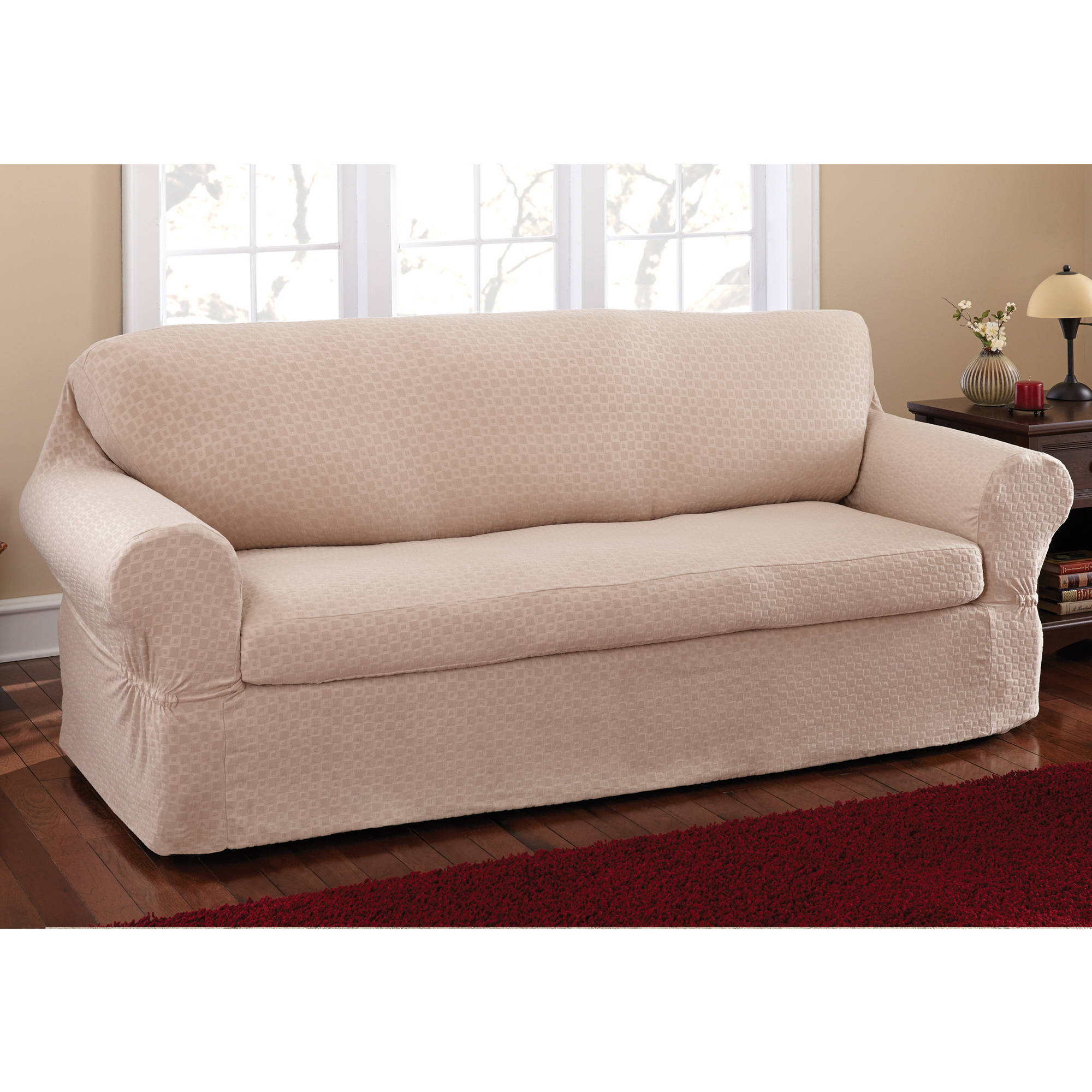 Slipcover Sofa Set: Mainstays Conrad 2 Piece Sofa Slipcover
