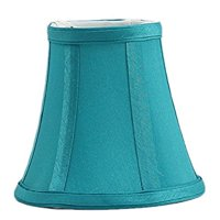 Urbanest Teal Silk Bell Chandelier Lamp Shade, 3-inch by 5-inch by 4.5-inch, Clip-on
