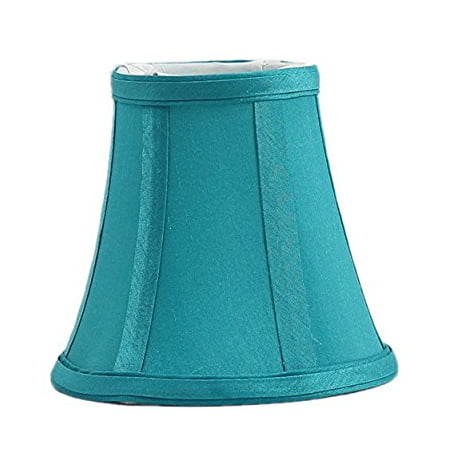 Urbanest Teal Silk Bell Chandelier Lamp Shade, 3-inch by 5-inch by 4.5-inch, Clip-on (Silk Shade Kit)