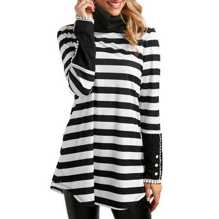 Starvnc Women Asymmetry Hem Pile Collar Long Sleeve Striped Tops