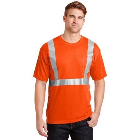 Cornerstone® - Ansi 107 Class 2 Safety T-Shirt.  Cs401 Safety Orange/ Reflective - image 1 de 1